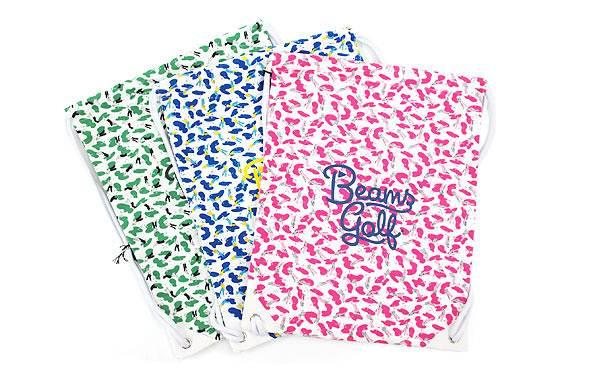 3.【BEAMS GOLF】ゴルフイラスト巾着シューズケース