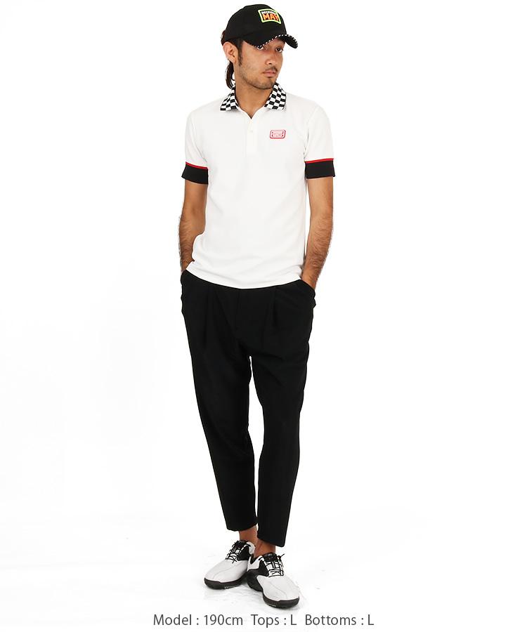 DM 襟チェッカー柄ポロシャツのコーディネート写真