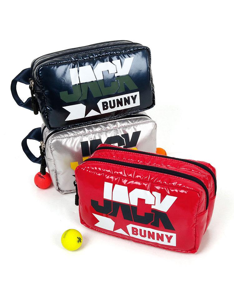 ジャックバニー JB 配色ロゴ★エナメル風BOX型2層クラッチバッグ
