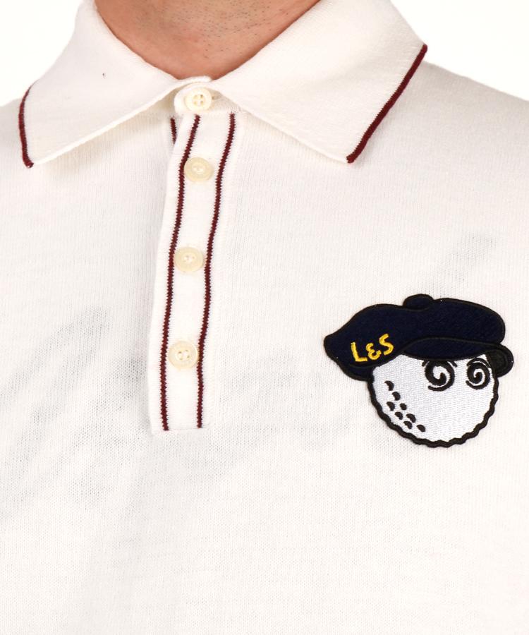 LC 【マルボンゴルフコラボ】ワッペン付ニットポロシャツのコーディネート写真
