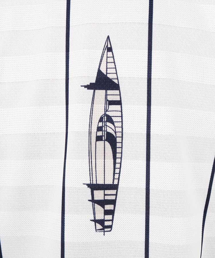 CA ヨット柄&ストライプ◆ボーダーポロのコーディネート写真