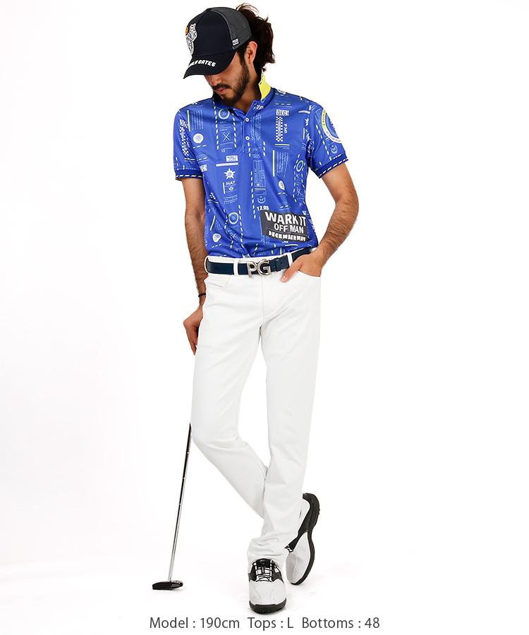 DM バゲッジタグ柄ポロシャツのコーディネート写真