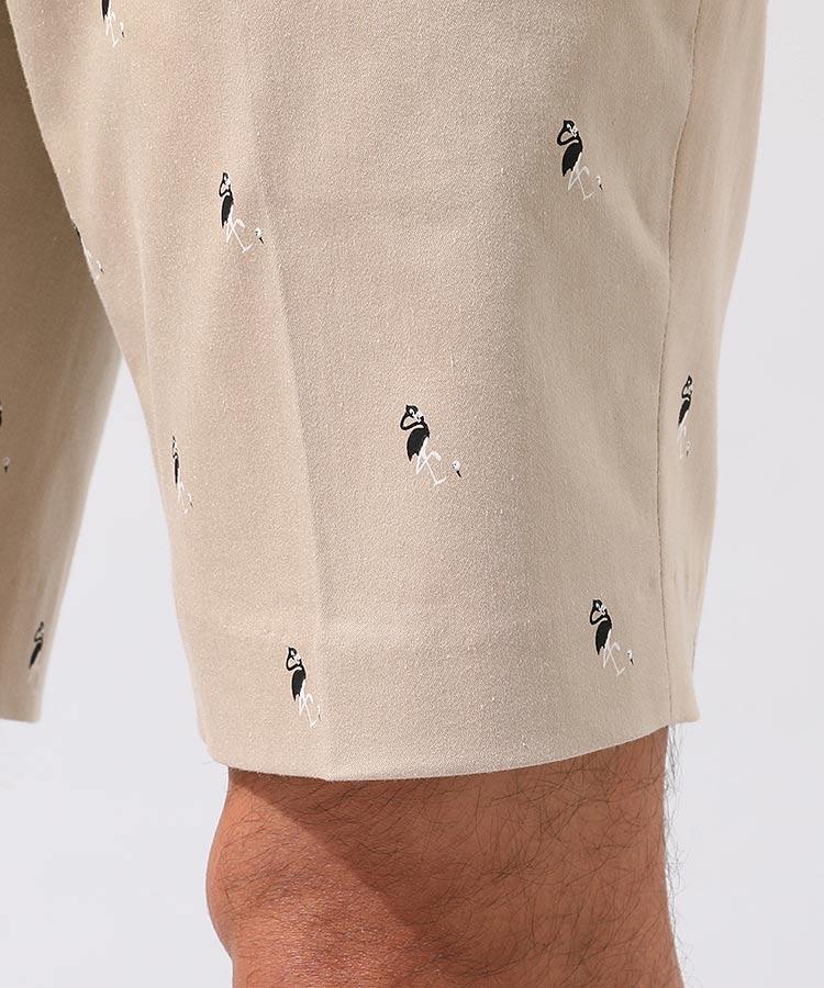 JR フラミンゴ柄プリントハーフパンツのコーディネート写真