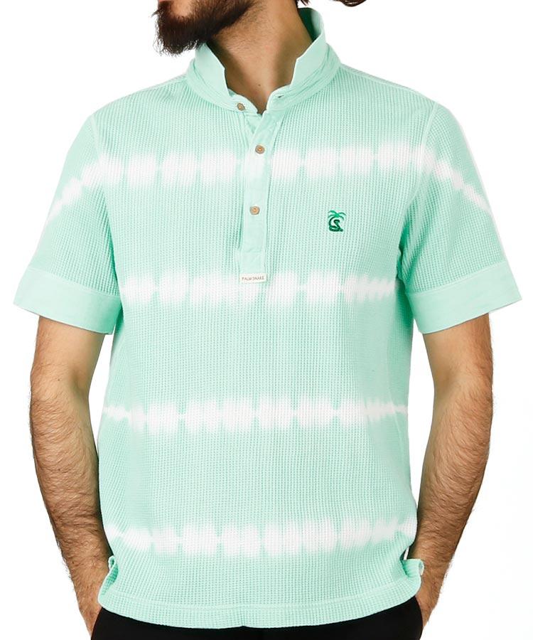 パームスネイク PA ワッフル地◆絞り染めポロシャツ