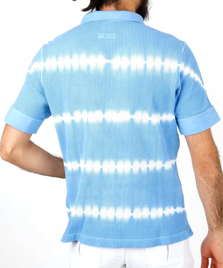 PA ワッフル地◆絞り染めポロシャツのコーディネート写真