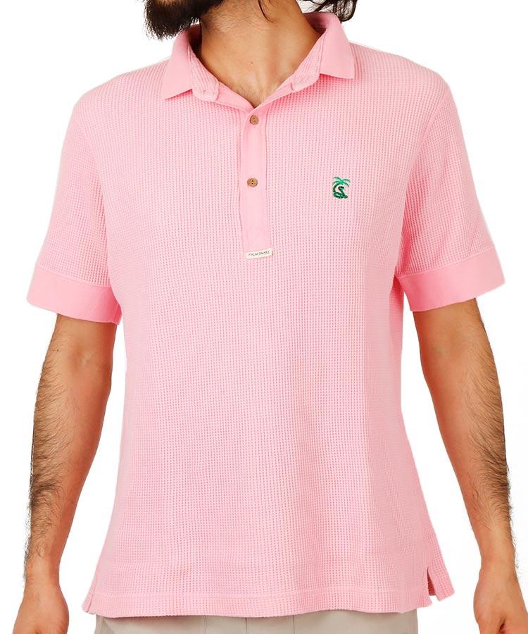 パームスネイク PA ワッフル地◆カラーポロシャツ