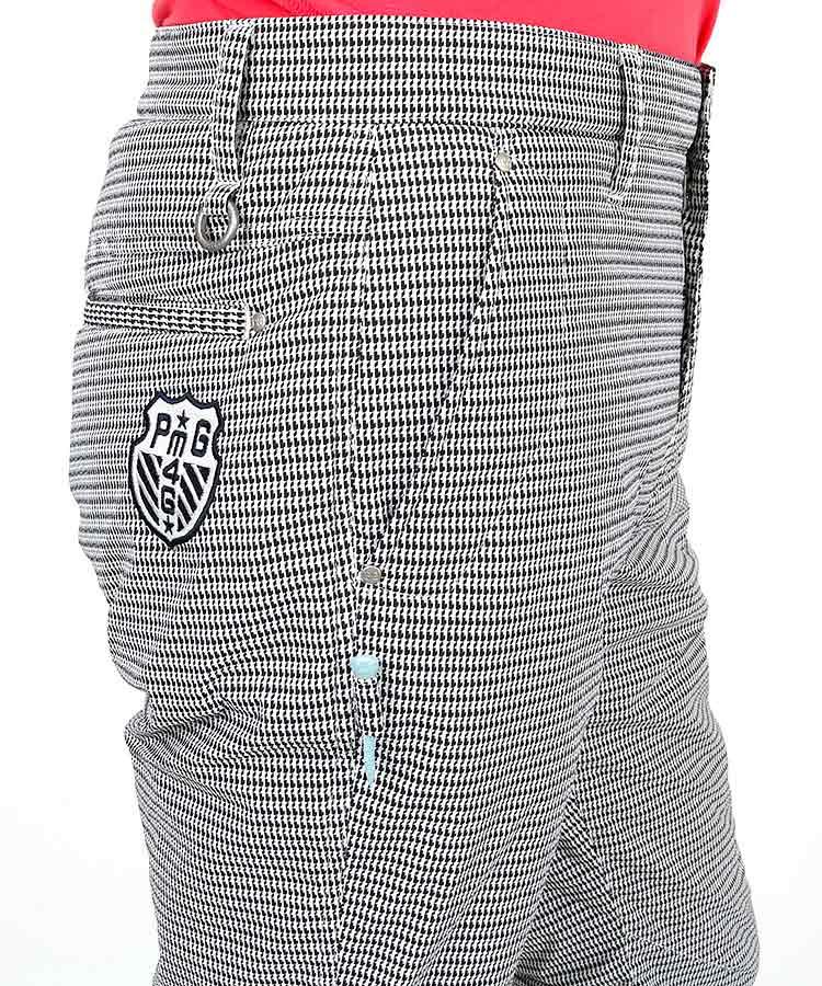 PG 幾何柄ナイロンストレッチ薄中綿入りパンツのコーディネート写真