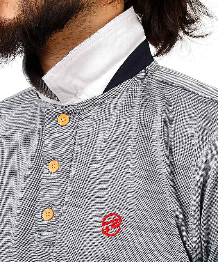 RO 霜降り柄ポロシャツのコーディネート写真